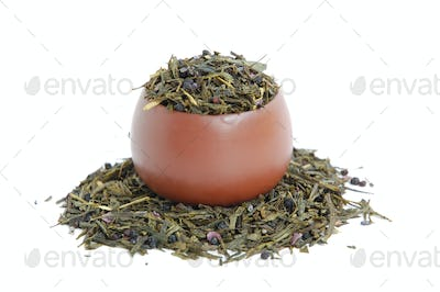 Cup of dried green tea