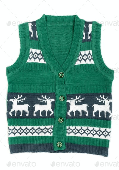 knitted vest with a Christmas ornament (with deer)