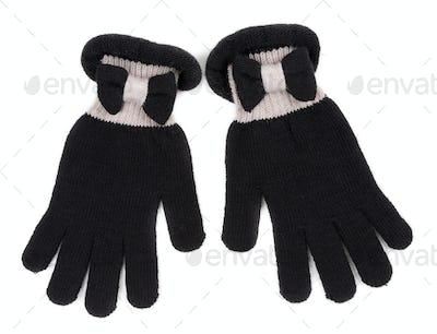 Black Gloves on White Background