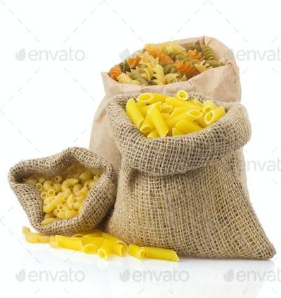 raw pasta isolated on white