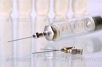 Vintage syringe and vials