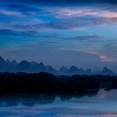 karst mountain landscape and reflection