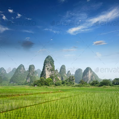 Typical landscape in Yangshuo Guilin, China