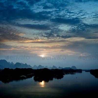karst mountain landscape and reflection