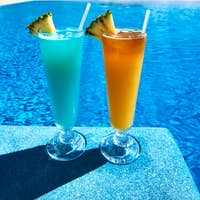 Cocktails near swimming pool