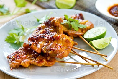 Grilled chicken with chili sauce