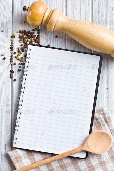 recipe book with pepper spice
