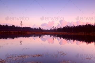 calm sunset over lake in Dwingelderveld