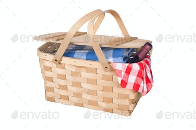 Picnic basket and wine