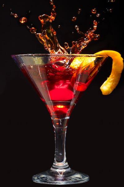 Splashing Cosmopolitan Cocktail