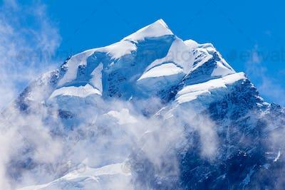 Summit top of Aoraki Mt Cook highest peak of NZ