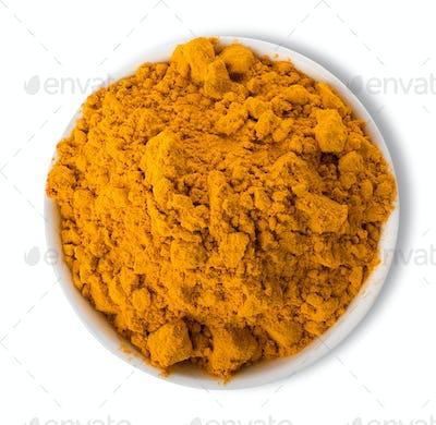 Turmeric powder in plate