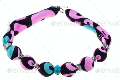 handmade pink and black silk necklace