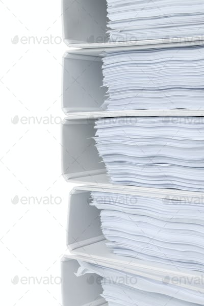 close up high stack of folders