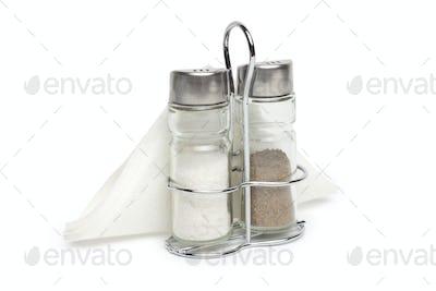 Salt and pepper shaker on a white