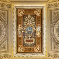 Ceiling painting with the coat of arms of Pope Leo XIII.