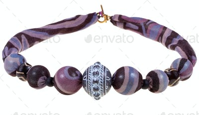 handmade purple and black silk necklace