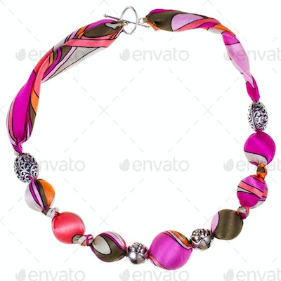 pink and brown silk and metal ball necklace