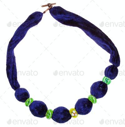 top view of dark blue velvet necklace