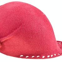 felt ladies red cloche hat