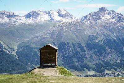 high mountain wood cabin refuge