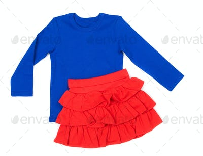 Baby blue blouse and red skirt