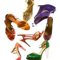 Sandals fashion still life composition