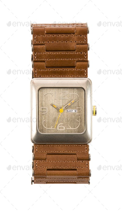 Brown leather links strap watch