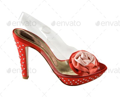 Red and transparent stilettos with strass and fabric red rose