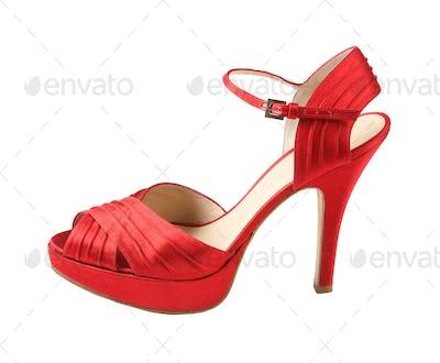 Red leather peep toe stilettos