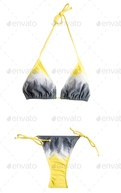 Tie dye yellow grey bikini