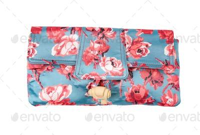 Roses print blue handbag