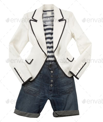 White blazer with striped t shirt and denim shorts