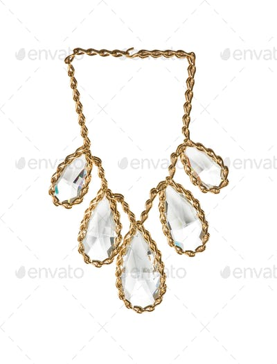 Big diamonds tears gold necklace