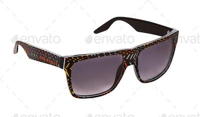 Black rimmed sunglasses with colorful confetti pieces
