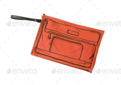 Orange handbag with sketched handbag on