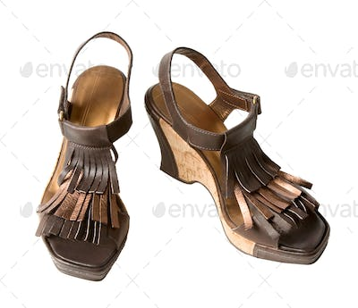 Wedge fringed leather sandals