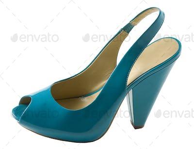 Turquoise patent leather peep toe