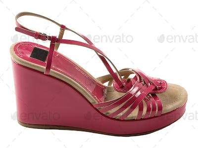 Wedge pink patent leather sandal