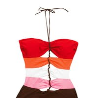 Color striped lace up swimsuit