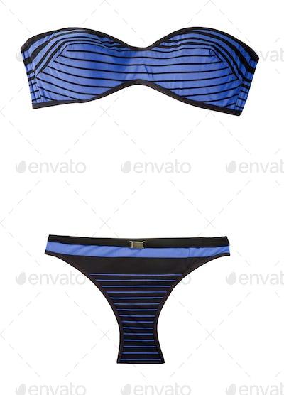 Bandeau striped indigo bikini