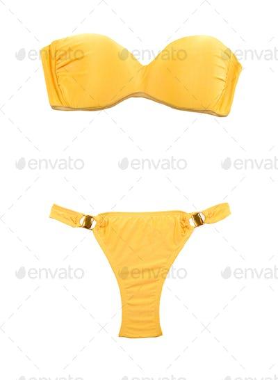 Yellow bandeau bikini with two big gems