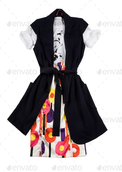 Fashion composition with long vest, print vintage flowers skirt