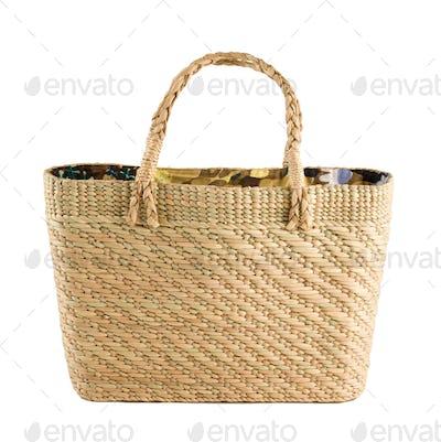 Floral inside basket tote