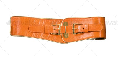 Wide orange leather belt