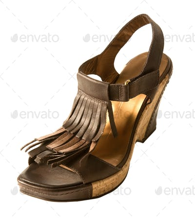 Wedge fringed leather sandal