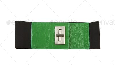 Wide green leather and elastic belt