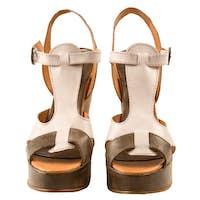 Peep toe leather sandals