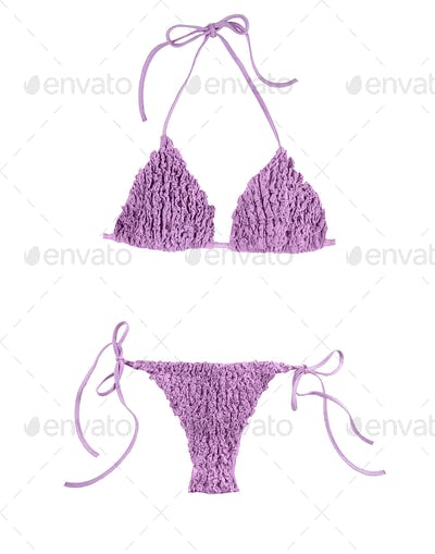 Frilly purple bikini
