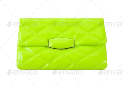 Padded fluorescent green patent leather clutch